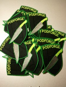 pile of embroidered podforge patches