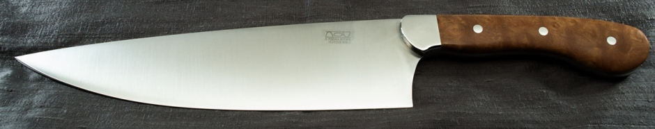 8 inch chef's knife with stainless steel bolster, stabilized madrone burl handle, and utility grade finish