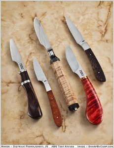 Dietrich Podmajersky's Journeyman Smith Test Knives. Photo by Sharp by Coop.
