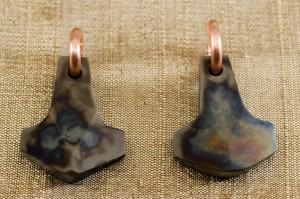 pair of Thors hammer pendants
