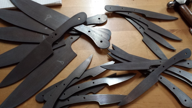pile of kitchen knives before heat treat